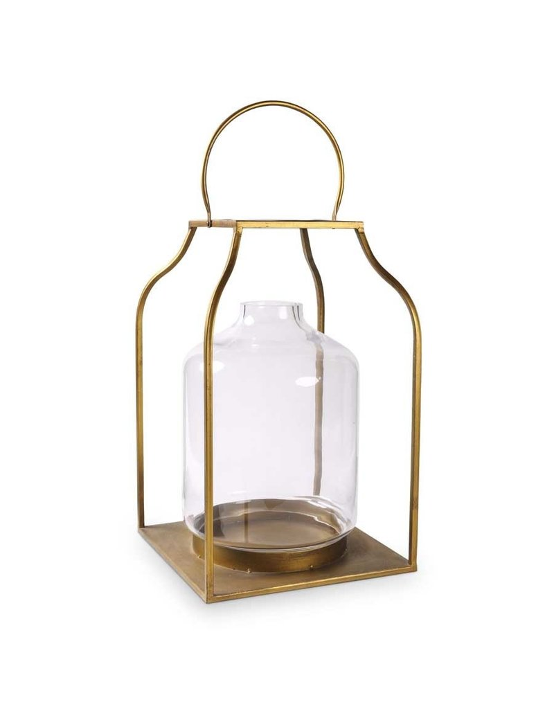 "K & K Interiors 27"" Lantern w/  Gold Finish & Glass Hurricane"