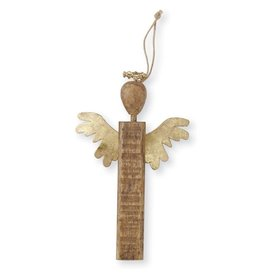 Mud Pie Gold Wood Angel Ornament Short Wings