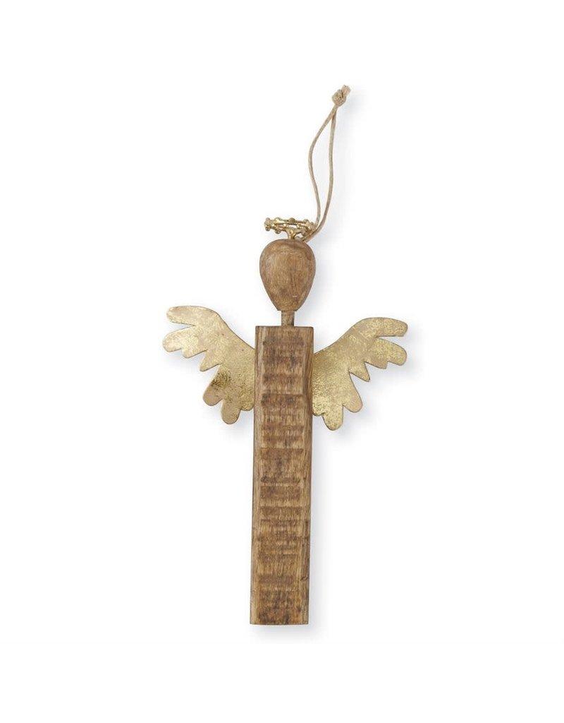 Mud Pie Gold Wood Angel Ornament Short Wings