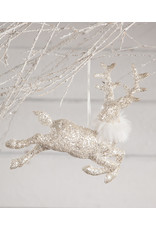 Bethany Lowe Designs Winter Glitter Stag Ornament, Large
