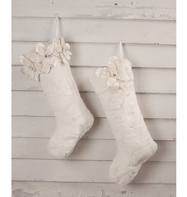Bethany Lowe Designs Winter White Poinsettia Fur Stocking - 3 Poinsettias