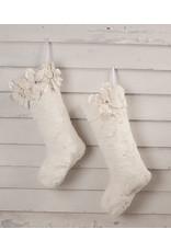 Bethany Lowe Designs Winter White Poinsettia Fur Stocking - 3 Poinsettias