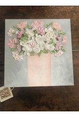 Kris Marks 12 x 12 Pink Bouquet Painting