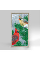 Greenbox Art 2 Cardinals in a Pine Tree Embellished Canvas 5x10