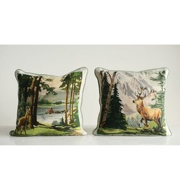 "Creative Co-Op 16"" Square Cotton Pillow Buck Scene"
