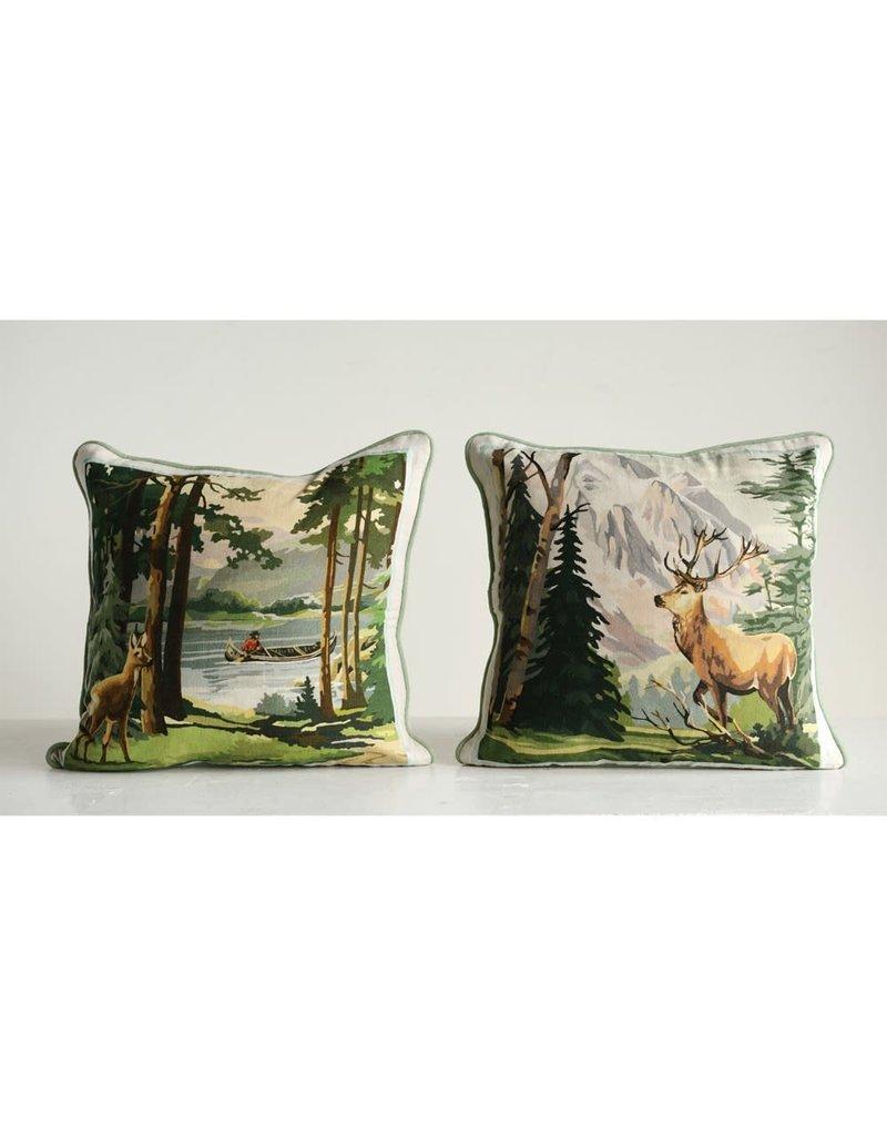 "Creative Co-Op 16"" Square Cotton Pillow Buck Scene"