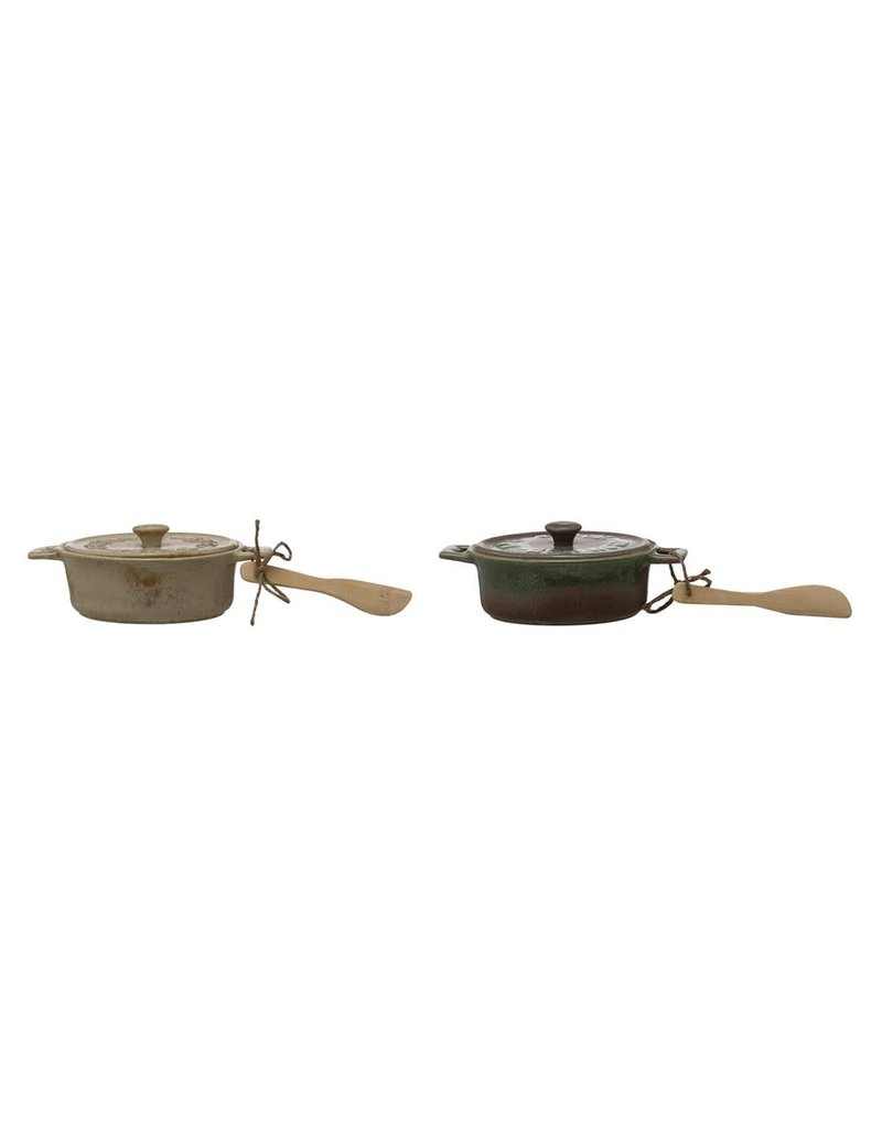 "Creative Co-Op 7""dia x 3.25"" Brie Baker w/ Bamboo Spreader - brown & green"