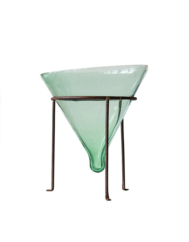 """Creative Co-Op S/2 12-1/4""""H Recycled Glass Cone Planter w Metal Stand"""