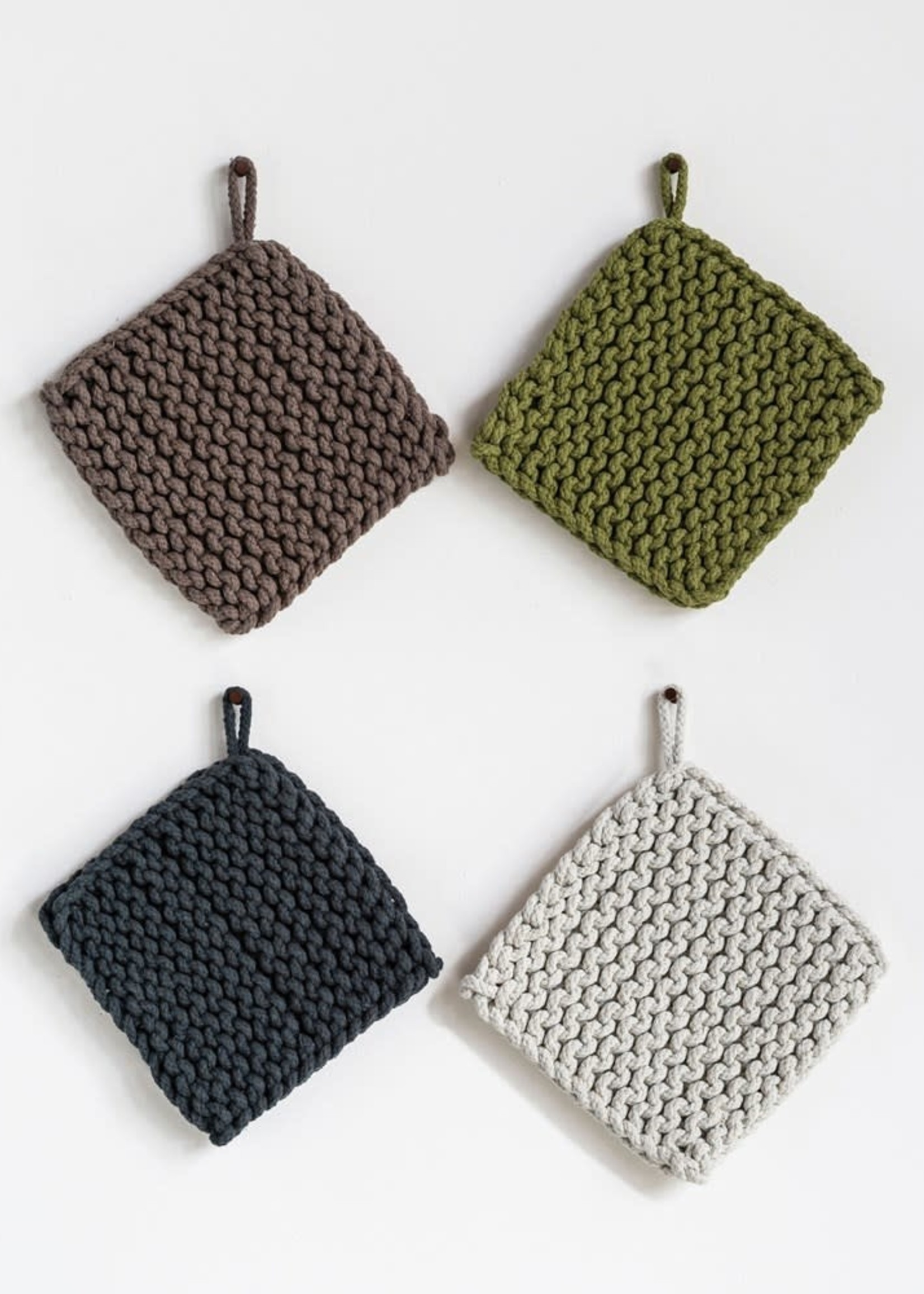 """Creative Co-Op 8"""" Square Cotton Crocheted Pot Holder Grey"""
