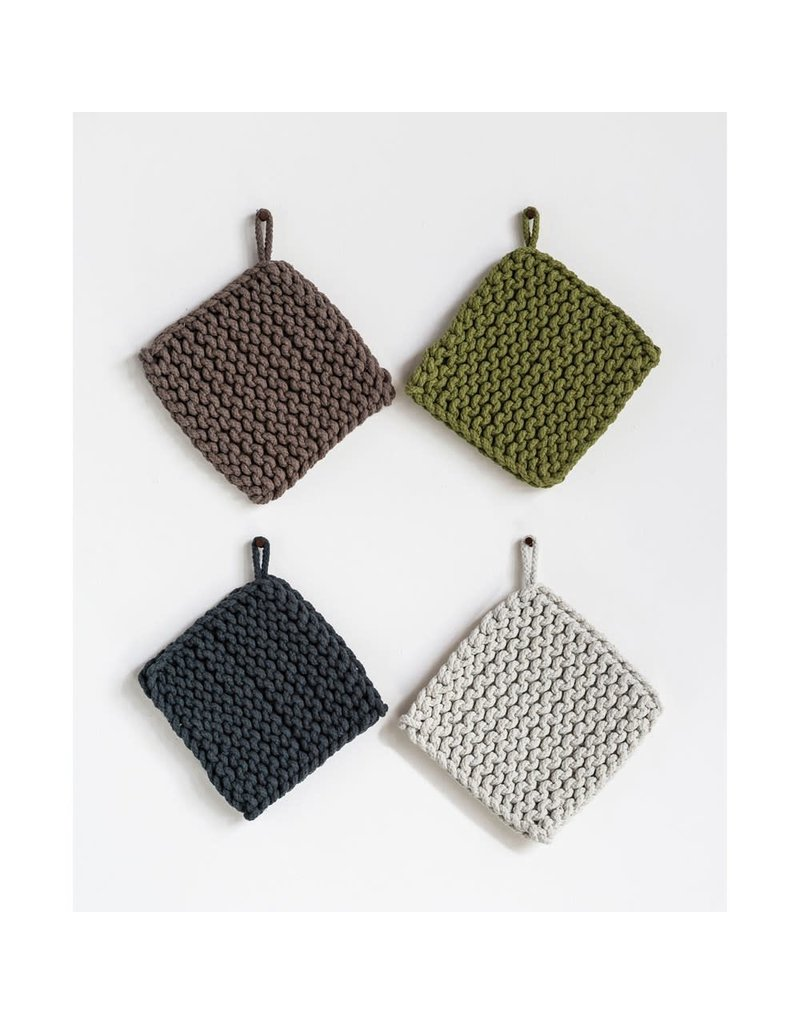 "Creative Co-Op 8"" Square Cotton Crocheted Pot Holder Grey"