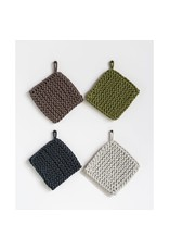 """Creative Co-Op 8"""" Square Cotton Crocheted Pot Holder Brown"""