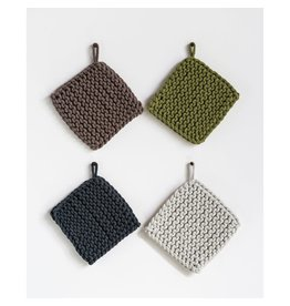 "Creative Co-Op 8"" Square Cotton Crocheted Pot Holder White"