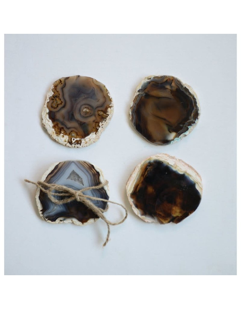 """Creative Co-Op S/4 4"""" Round Agate Coasters, Brown, (Each One Will Vary)"""
