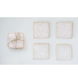 "Creative Co-Op S/4 4"" Square Agate Coasters w/ Gold Foil Trim, Pink"