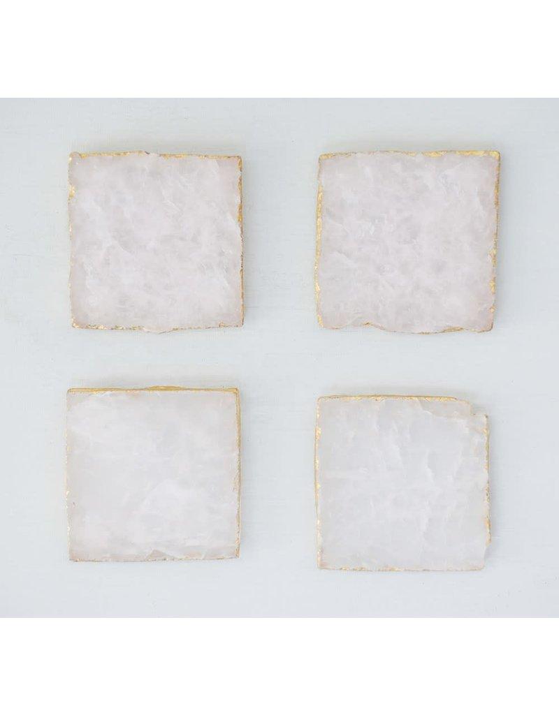 "Creative Co-Op S/4 4"" Square Agate Coasters w/ Gold Foil Trim, Pink"