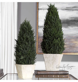 Uttermost / Revelation Cypress Cone Topiary in Aged Stoned Terracotta, Large