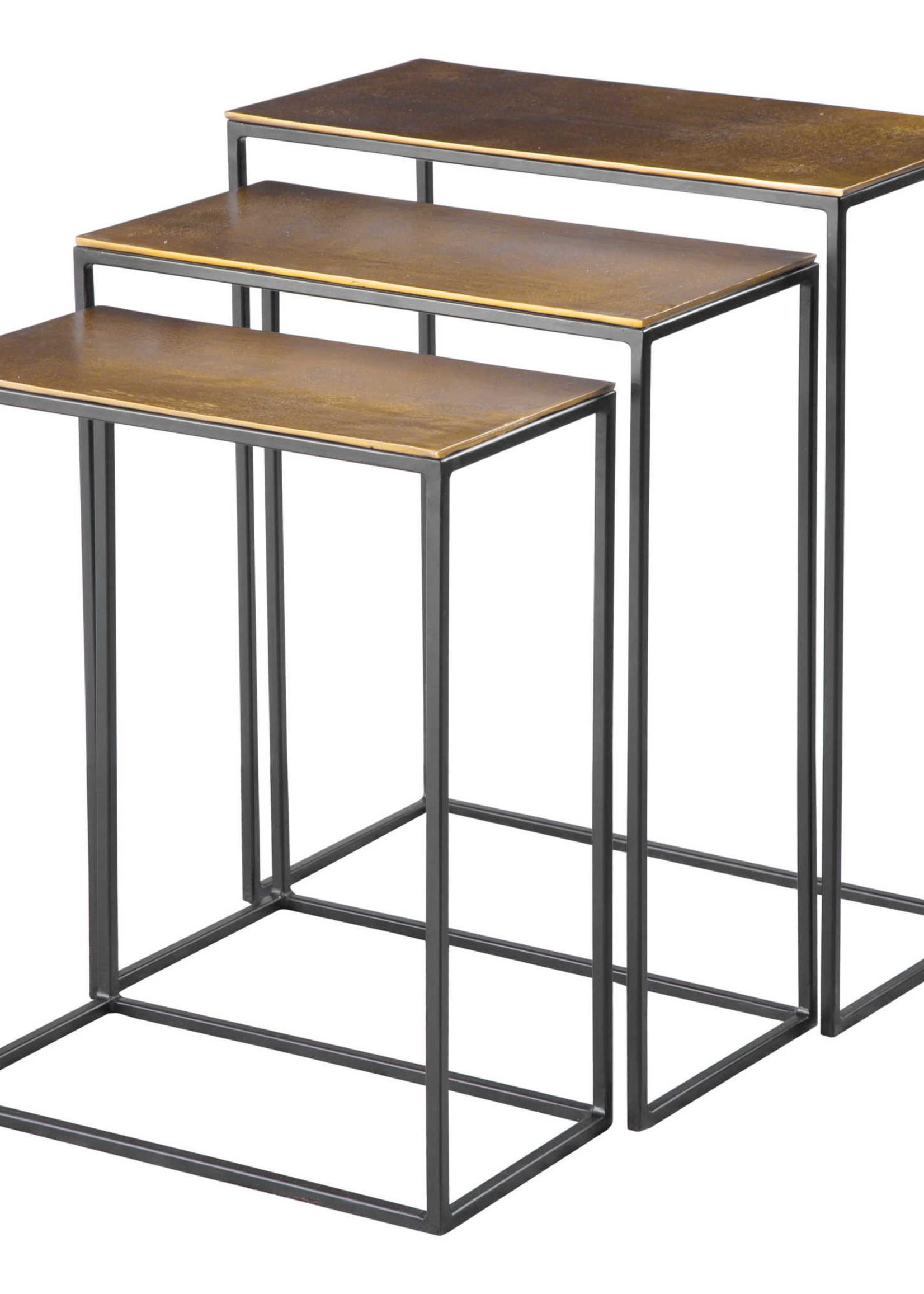 Uttermost / Revelation Coreene Nesting Tables Set/3 in Aged Black Iron