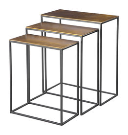 Uttermost / Revelation Coreene Nesting Tables Set/3 in Aged Black Iron