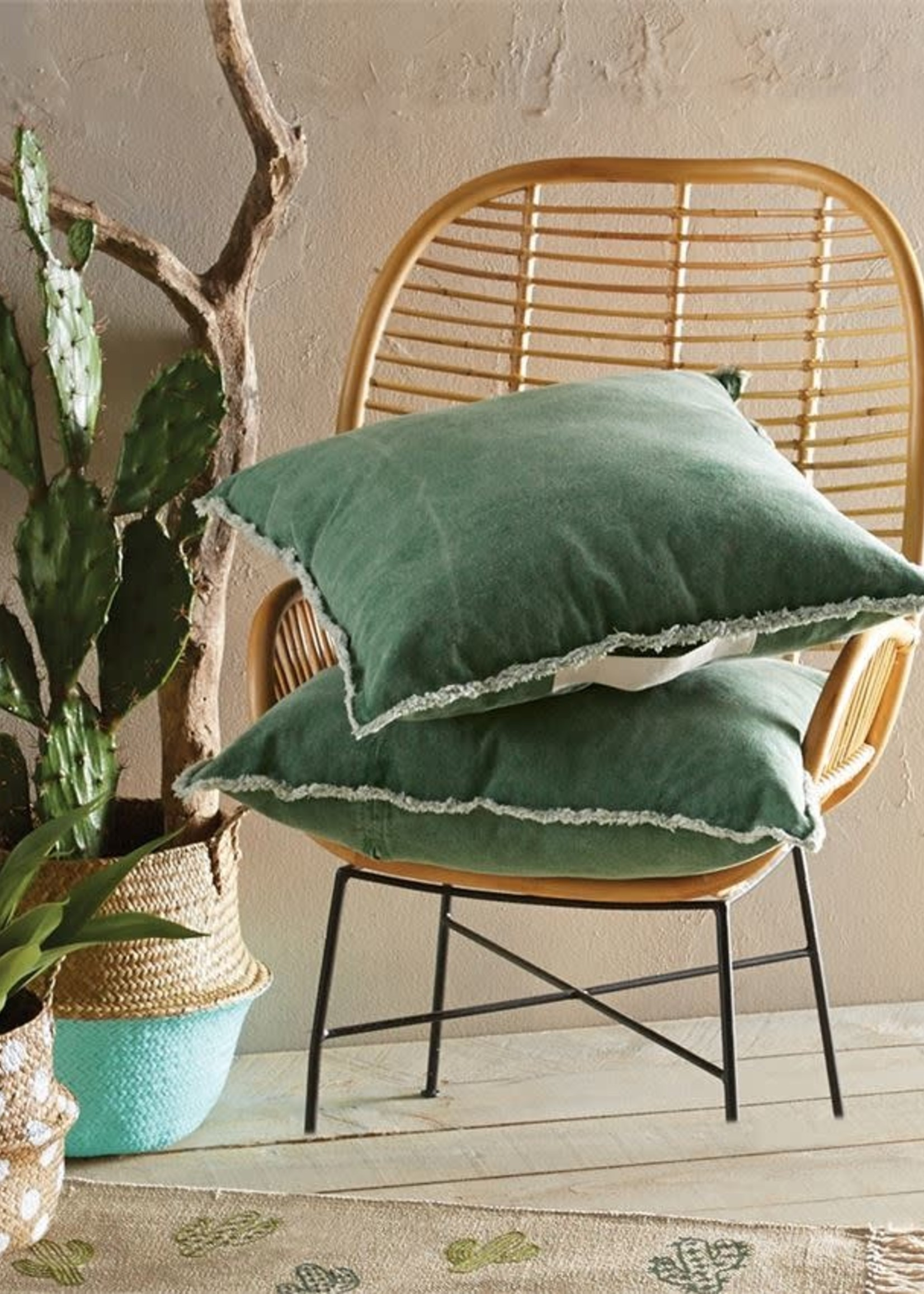 Mud Pie Green Washed Canvas Pillow