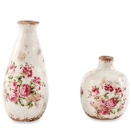 Mud Pie Short Rose Decal Vase