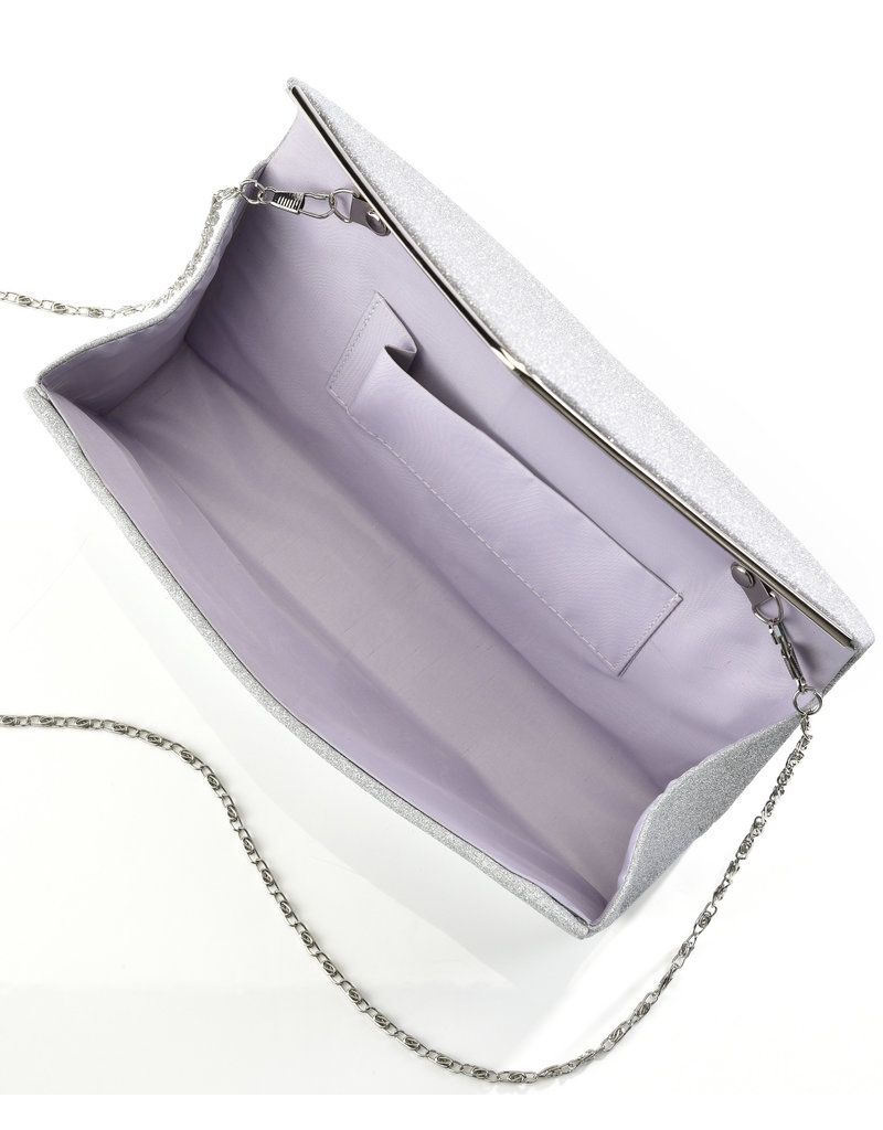 Giftcraft Glittered Polyester Evening Bag Silver