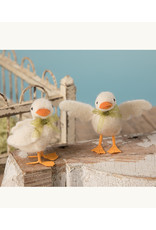 Bethany Lowe Designs White Duckling w/ Green Ribbon Small - Wings out