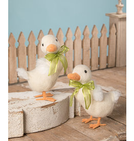 Bethany Lowe Designs White Duckling w/ Green Ribbon Lg