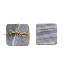 "Creative Co-Op S/4 4"" Square Marble Coasters, Grey w/ Gold Edge"
