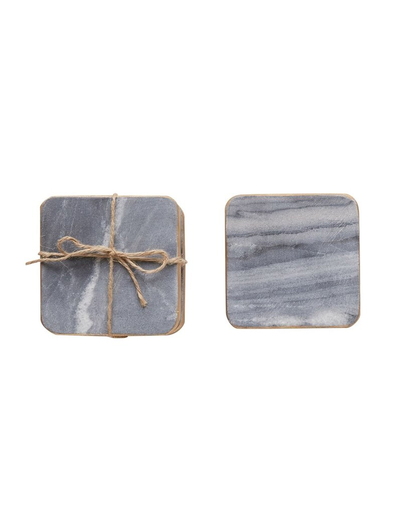 """Creative Co-Op S/4 4"""" Square Marble Coasters, Grey w/ Gold Edge"""