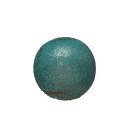 "Creative Co-Op 3.5"" Round Terra-cotta Orb Distressed Aqua Glaze"