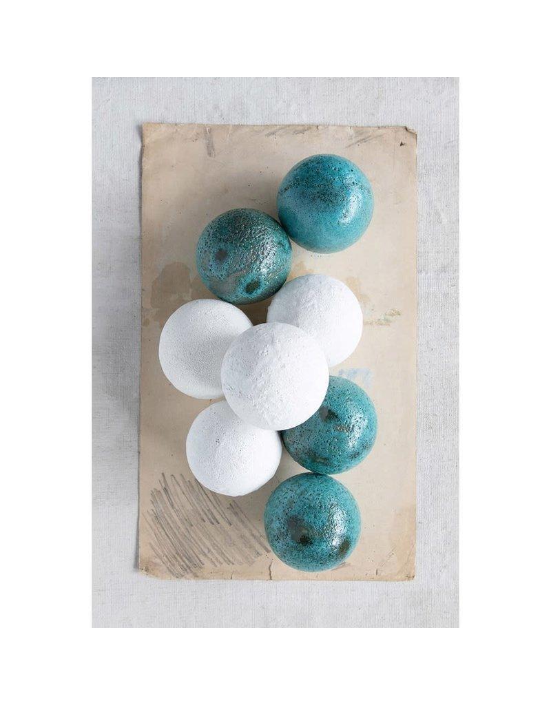 """Creative Co-Op 3.5"""" Round Terra-cotta Orb Distressed Aqua Glaze"""