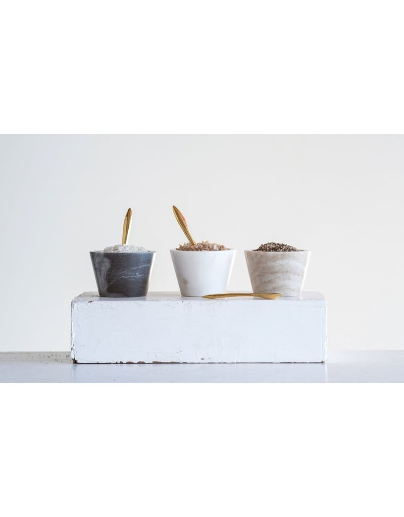 "Creative Co-Op 3"" dia x 2"" H Marble Bowl w/ Brass Spoon - White"