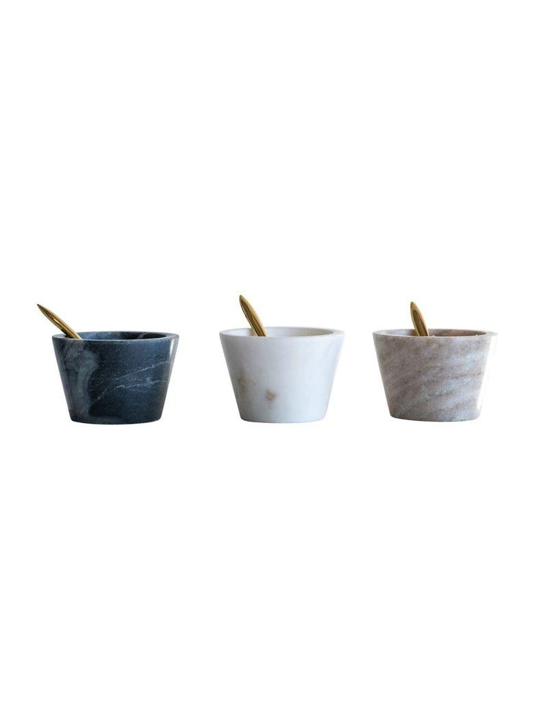 """Creative Co-Op 3"""" dia x 2"""" H Marble Bowl w/ Brass Spoon - Beige"""