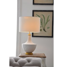 "Creative Co-Op 16"" dia x 27"" H Ceramic Table Lamp w/ Linen Shade - Cream"