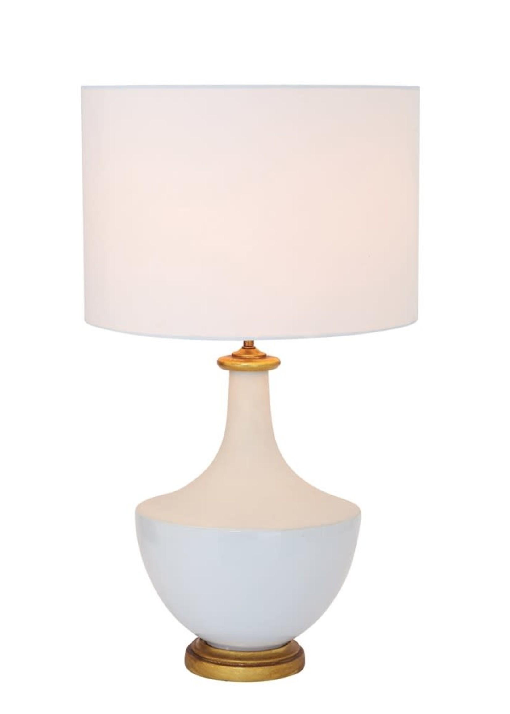 "Creative Co-Op 16"" dia x 27"" H Ceramic Table Lamp w/ Linen Shade - Cream"