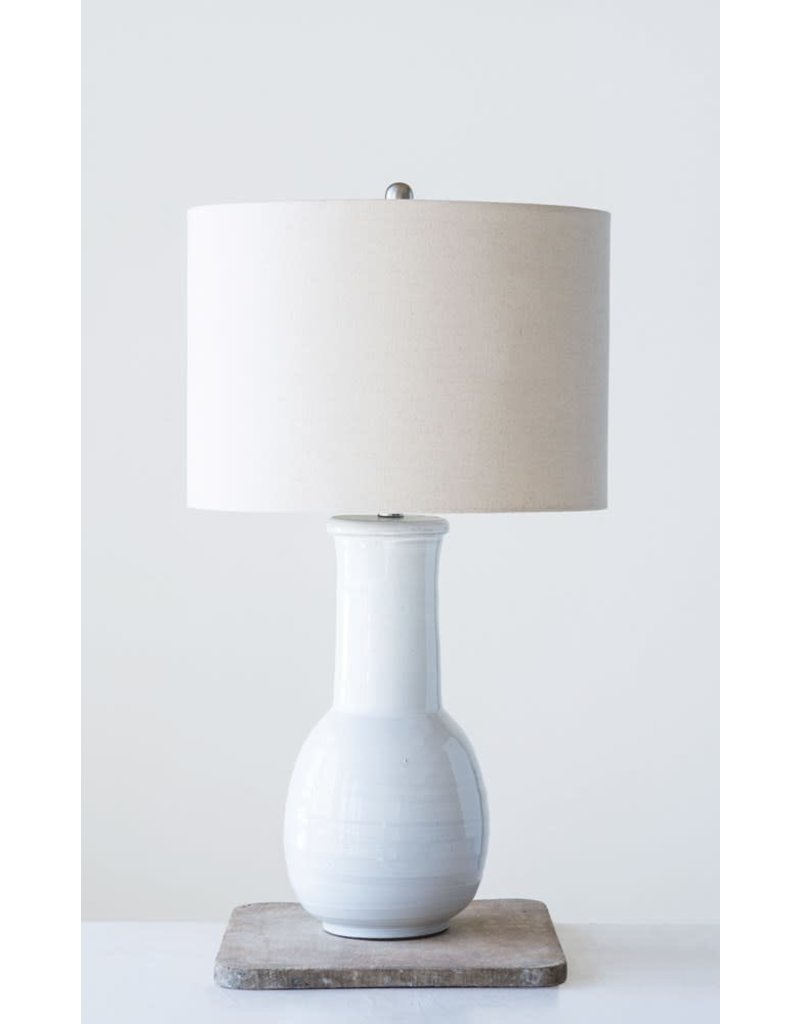"Creative Co-Op 17"" dia x 30"" H Terra-cotta Table Lamp w/ Natural Linen Shade White"