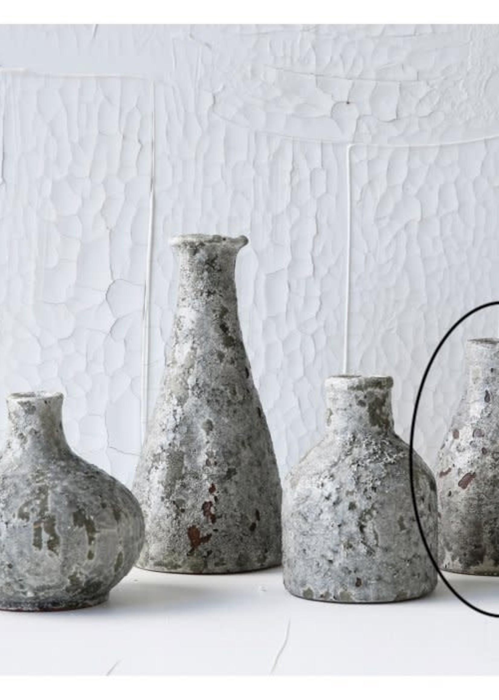 "Creative Co-Op 6.25"" Terra-cotta Vase Heavily Distressed Grey"