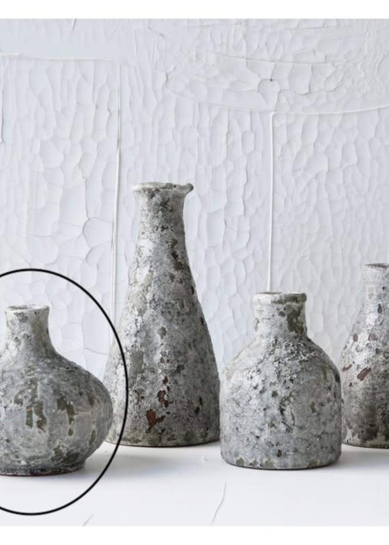 "Creative Co-Op 5.25"" Terra-cotta Vase Heavily Distressed Grey"