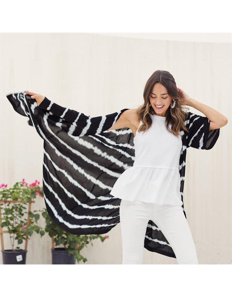 Mud Pie Athena Kimono Black & White