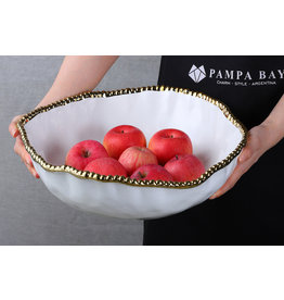 Pampa Bay Ovevrsized Serving Bowl White/Gold