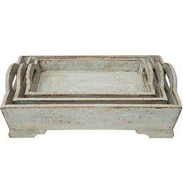 "17"" x 14"" Decorative Wood Tray w Handles"