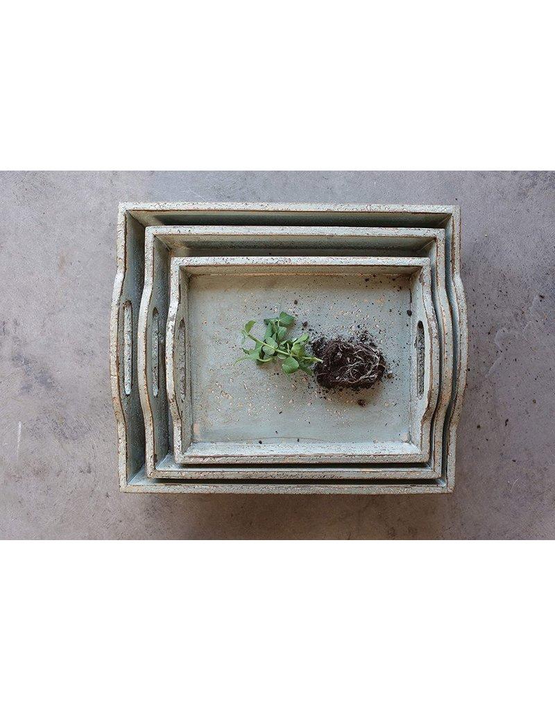 "13"" x 10"" Decorative Wood Tray w Handles"