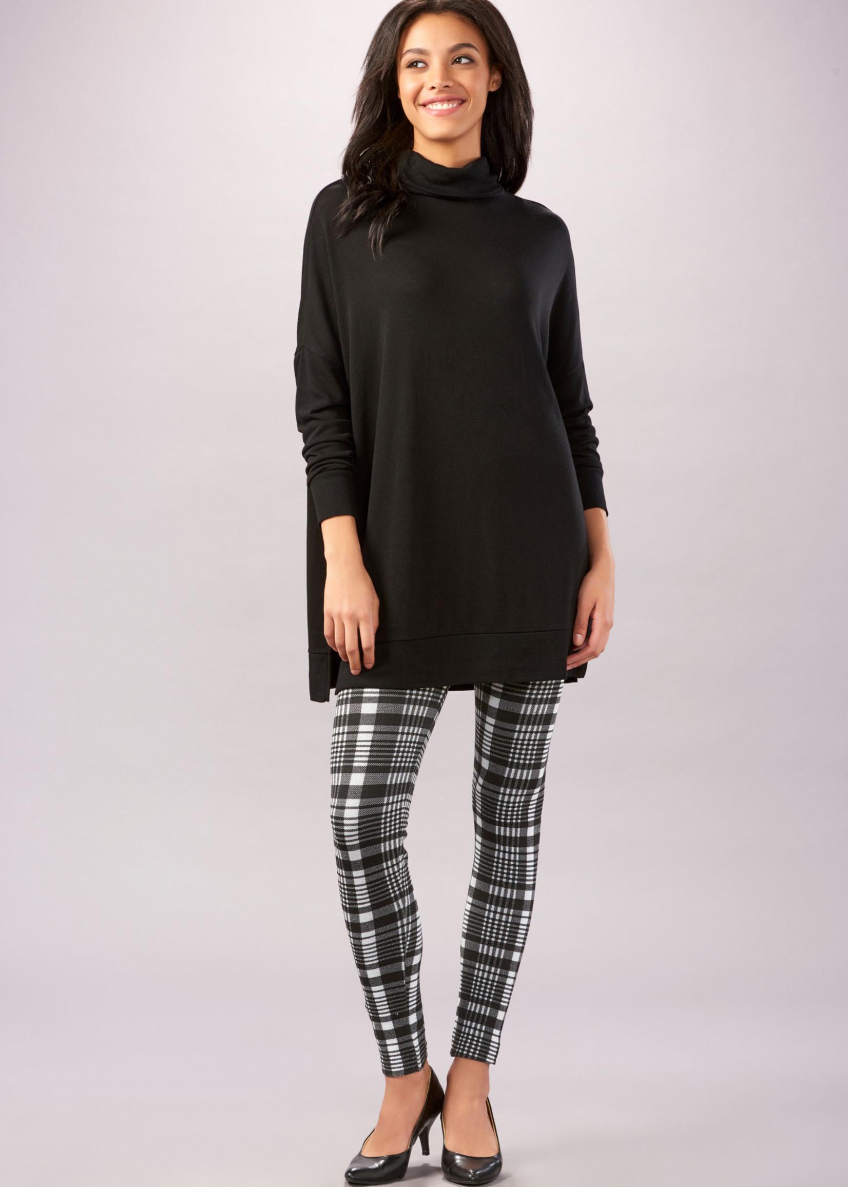 Charlie Page S/M Black & Grey Plaid Fleece Lined Leggings