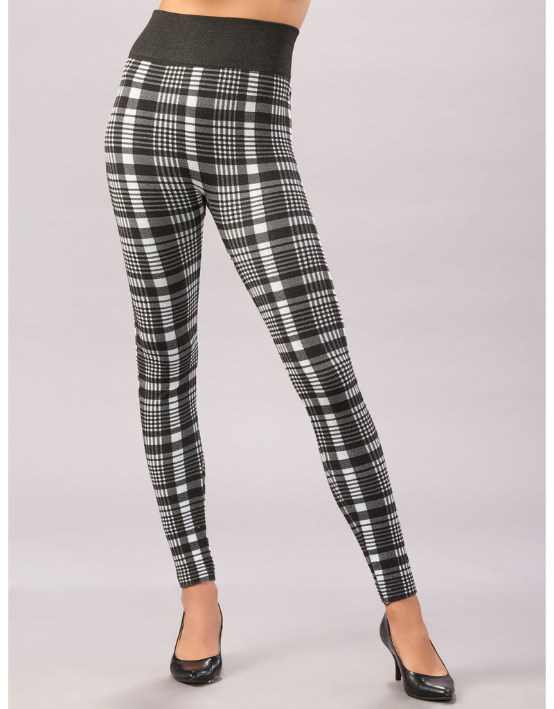 Charlie Page L/XL Houndstooth Plaid Fleece Lined Leggings