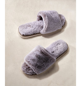 Charlie Page Faux Fur Open-Toe Slippers Large