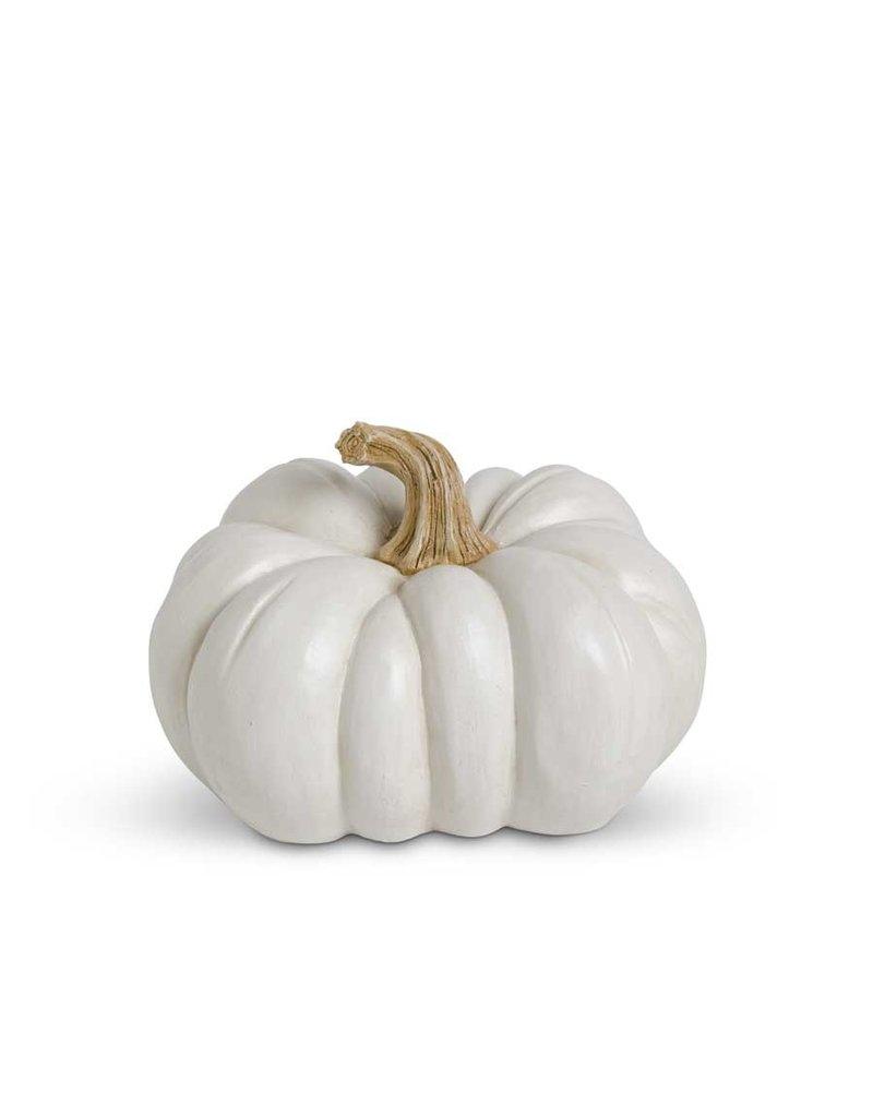 K&K 6.5 Inch White Resin Pumpkin