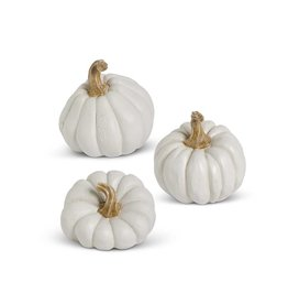 K&K Assorted White Resin Pumpkins