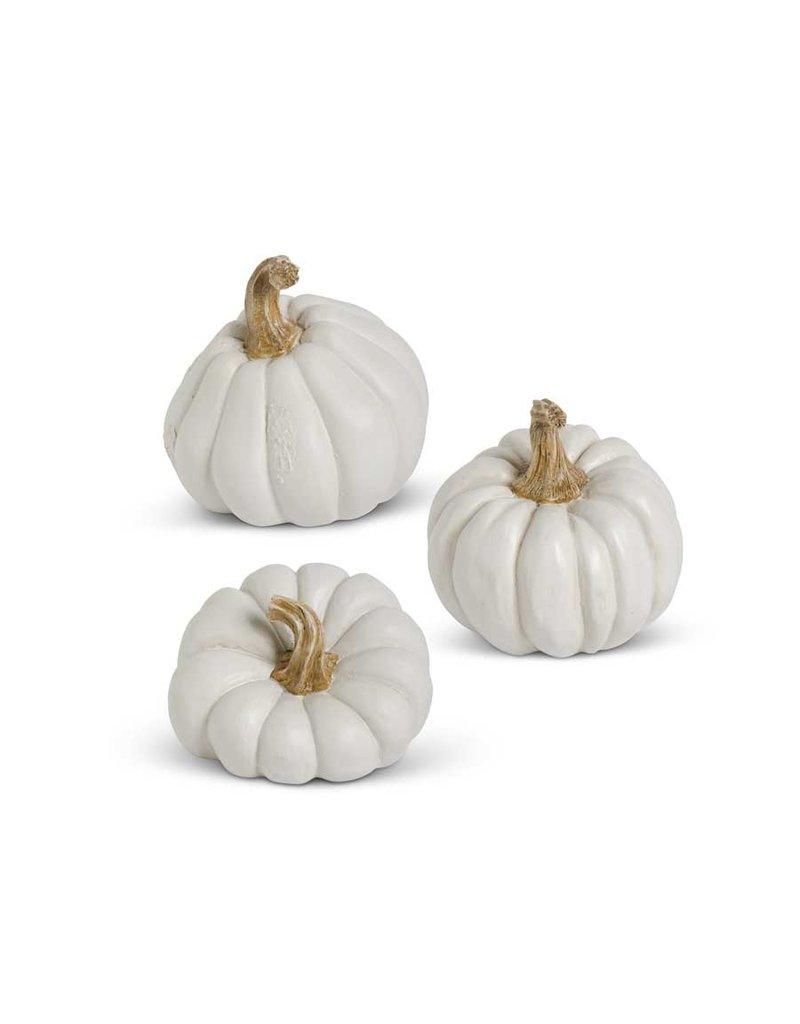 K&K Assorted White Resin Pumpkins
