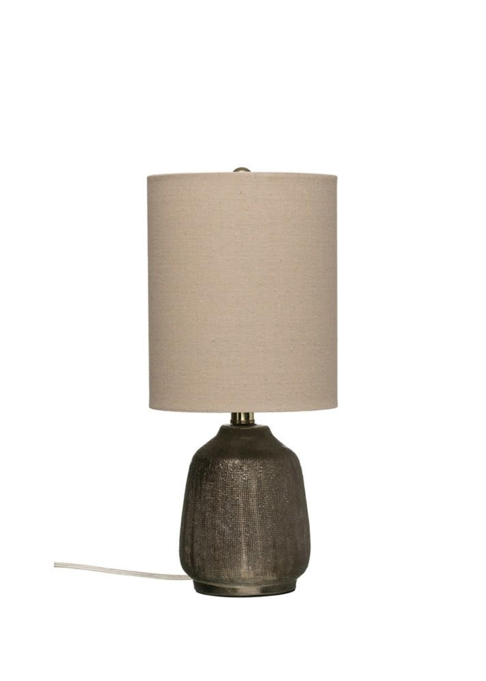 "Creative Co-Op 8"" x 18"" Terra-Cotta Lamp w/ Linen Shade, Metallic Glaze"