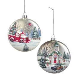 Giftcraft Church Scene Disc Ornament